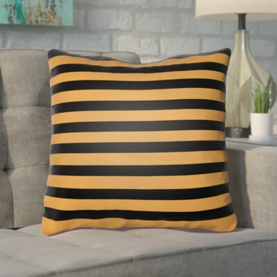 Upsilon Indoor/Outdoor Throw Pillow Color: Orange, Black, Size: 18 H x 18 W x 4 D