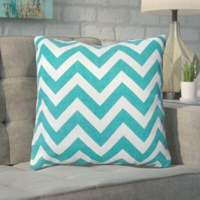 Bollin Chevron 100% Cotton Outdoor Throw Pillow Color: Teal