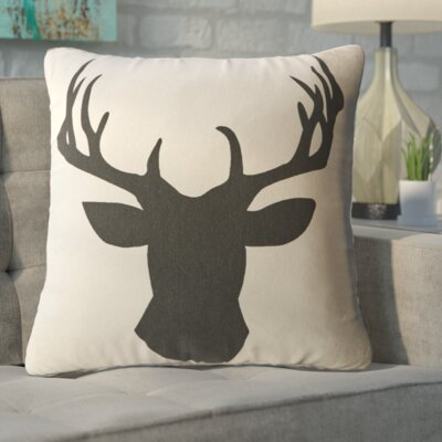Travis Deerhead Feathered Throw Pillow