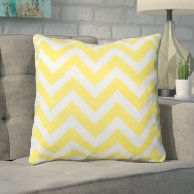Bollin Chevron 100% Cotton Outdoor Throw Pillow Color: Yellow