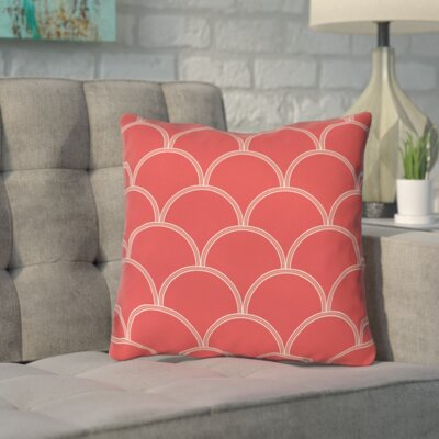Brendan Indoor/Outdoor Throw Pillow Size: 18 H x 18 W x 5 D, Color: Coral / White