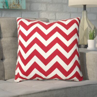 Bollin Chevron 100% Cotton Indoor Throw Pillow Color: Red