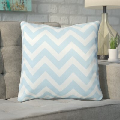 Bollin Chevron 100% Cotton Indoor Throw Pillow Color: Light Blue