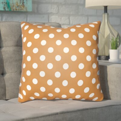 Phi Halloween Polkadots Indoor/Outdoor Throw Pillow Size: 18 H x 18 W x 4 D, Color: Orange, White