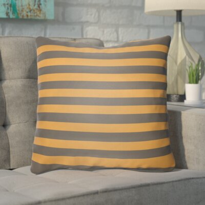 Upsilon Indoor/Outdoor Throw Pillow Color: Orange, Gray, Size: 18 H x 18 W x 4 D