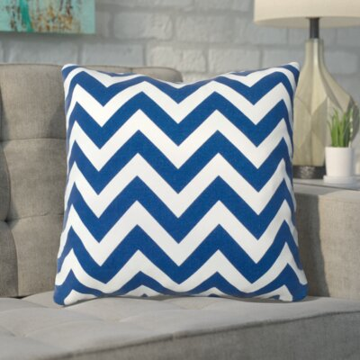 Bollin Chevron 100% Cotton Outdoor Throw Pillow Color: Navy