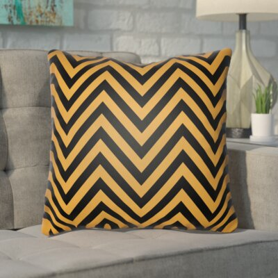 Hallinan Indoor/Outdoor Throw Pillow Color: Orange, Black, Size: 18 H x 18 W x 4 D