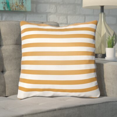 Upsilon Indoor/Outdoor Throw Pillow Color: Orange, White, Size: 18 H x 18 W x 4 D