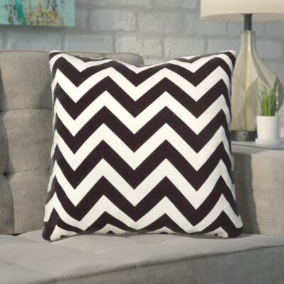 Bollin Chevron 100% Cotton Indoor Throw Pillow Color: Black