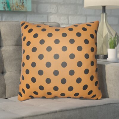 Phi Halloween Polkadots Indoor/Outdoor Throw Pillow Color: Orange, Black, Size: 18 H x 18 W x 4 D