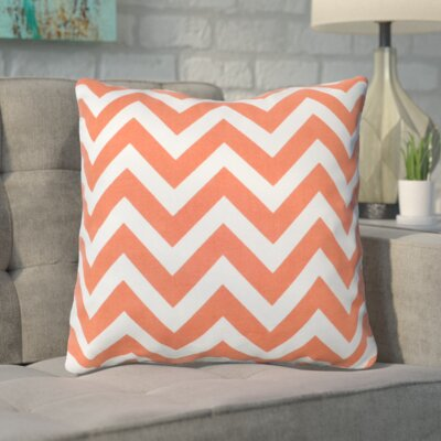Bollin Chevron 100% Cotton Outdoor Throw Pillow Color: Orange