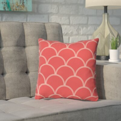 Archey Printed Throw Pillow Size: 26 H x 26 W x 7 D, Color: Coral / White