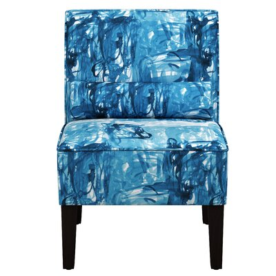 Thurston Slipper Chair Upholstery: Stroke Block Blue OGA