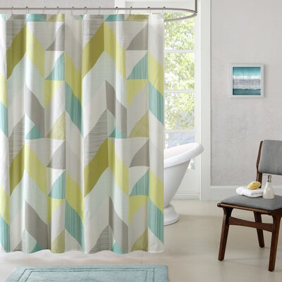 Horta Cotton Printed Shower Curtain Color: Aqua