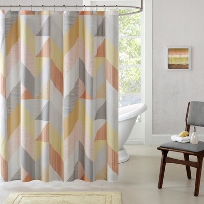 Horta Cotton Printed Shower Curtain Color: Orange