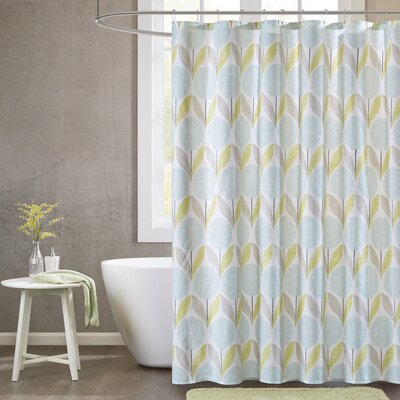 Wyss Cotton Printed Shower Curtain Color: Aqua