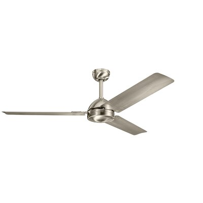 56 Arriola 3 Blade Ceiling Fan Finish: Brushed Stainless Steel