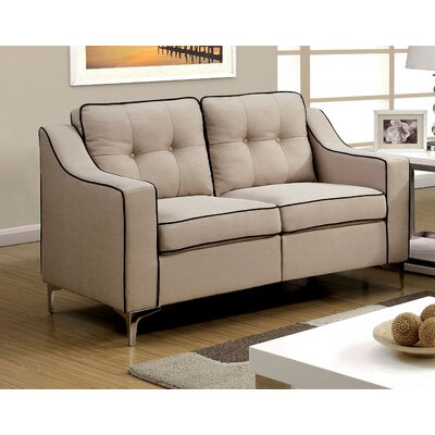 Avalos Contemporary Loveseat Upholstery: Beige