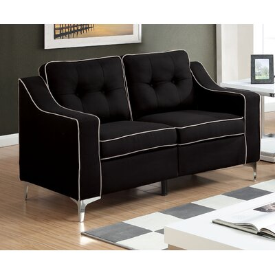 East Arapahoe Contemporary Plain Loveseat Upholstery: Black