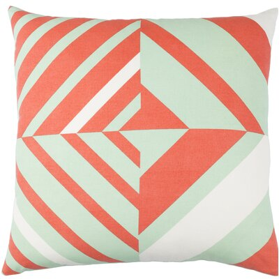 Clio Square Cotton Indoor Throw Pillow Size: 18 H x 18 W x 4 D, Color: Mint / Orange / White