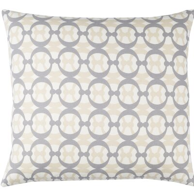 Clio Geometric Cotton Throw Pillow Size: 18 H x 18 W x 4 D, Color: White / Gray / Beige