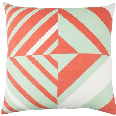 Kenos Cotton Throw Pillow Size: 20 H x 20 W x 4 D, Color: Mint / Orange / White