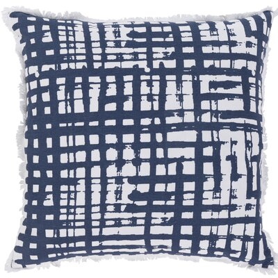 Iwamoto Cotton Throw Pillow Color: Navy / White, Size: 22 H x 22 W x 5 D