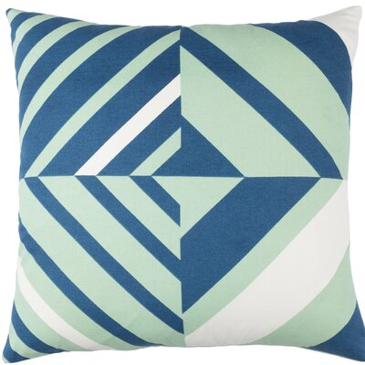 Clio Square Cotton Indoor Throw Pillow Size: 20 H x 20 W x 4 D, Color: Mint / Dark Blue / White