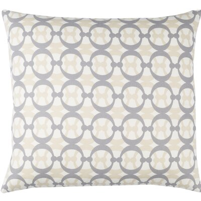 Clio Cotton Throw Pillow Size: 18 H x 18 W x 4 D, Color: White / Gray / Beige