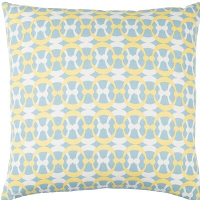 Clio Cotton Throw Pillow Size: 18 H x 18 W x 4 D, Color: Aqua / Butter / White