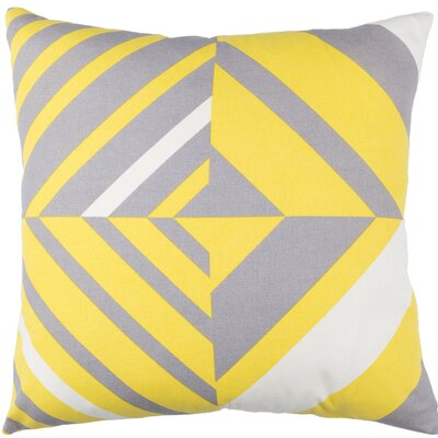 Kenos Cotton Throw Pillow Size: 18 H x 18 W x 4 D, Color: Saffron / Gray / White
