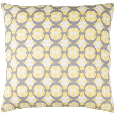 Clio Cotton Throw Pillow Size: 18 H x 18 W x 4 D, Color: Butter / Gray / White