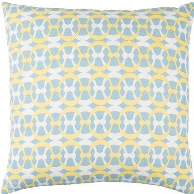 Clio Geometric Cotton Throw Pillow Size: 18 H x 18 W x 4 D, Color: Aqua / Butter / White