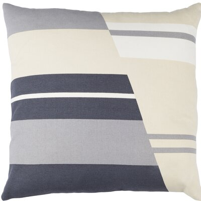 Clio Square Zipped Cotton Throw Pillow Size: 20 H x 20 W x 4 D, Color: White / Charcoal / Beige / Gray
