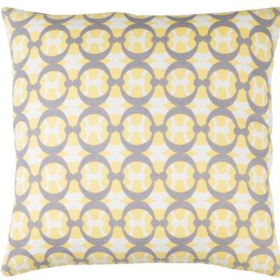 Kenos Cotton Throw Pillow Color: Butter / Gray / White, Size: 18 H x 18 W x 4 D