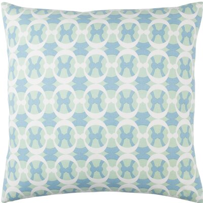 Clio Geometric Cotton Throw Pillow Size: 20 H x 20 W x 4 D, Color: Mint / Sky Blue / White