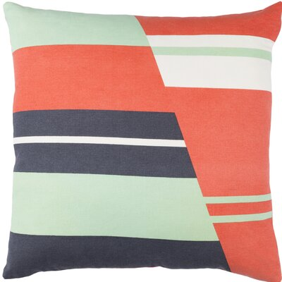 Kenos Cotton Throw Pillow Size: 18 H x 18 W x 4 D, Color: Orange / Charcoal / Mint / White