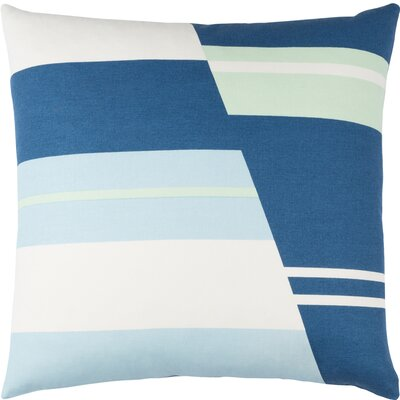 Clio Striped Cotton Throw Pillow Size: 18 H x 18 W x 4 D, Color: Dark Blue / White / Sky Blue / Mint