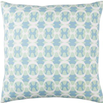 Kenos Cotton Throw Pillow Size: 18 H x 18 W x 4 D, Color: Mint / Sky Blue / White