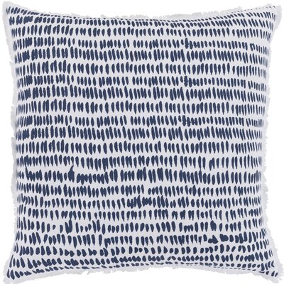 Iwamoto Cotton Throw Pillow Size: 22 H x 22 W x 5 D, Color: Navy / White