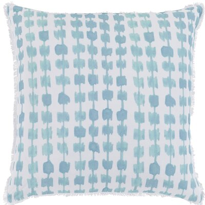 Jedicke Cotton Throw Pillow Size: 22 H x 22 W x 5 D, Color: Aqua / White