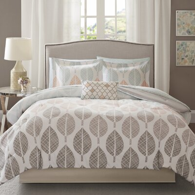 Bach Comforter Set Size: Full, Color: Coral/Green