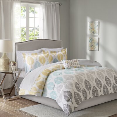 Utterback Comforter Set Size: California King, Color: Aqua/Yellow