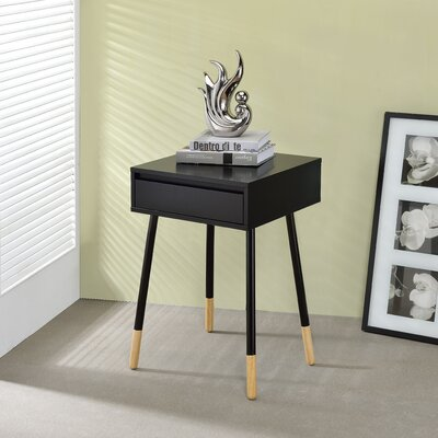 Backlund End Table with Storage Color: Black