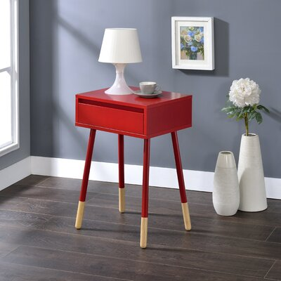Backlund End Table with Storage Color: Red