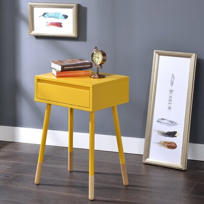 Backlund End Table with Storage Color: Yellow