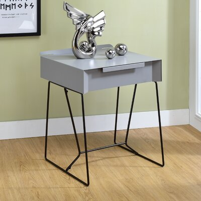 Backman End Table with Storage Color: Gray