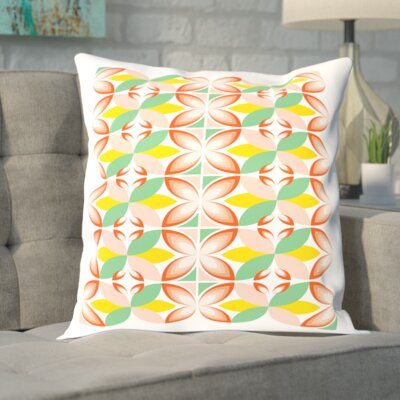 Broadway Tiles Outdoor Throw Pillow Color: Pink, Size: 18 H x 18 W x 2 D