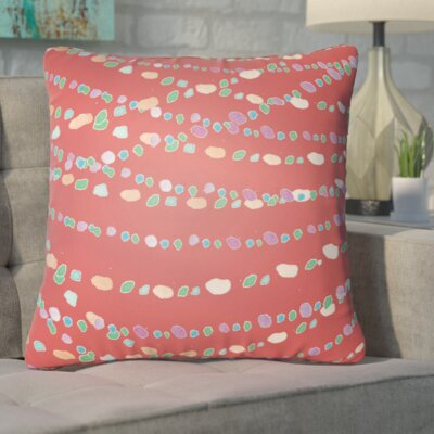 Bishopville Beads Indoor/Outdoor Throw Pillow Size: 18 H x 18 W x 4 D, Color: Red