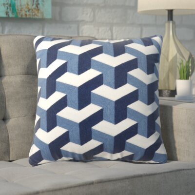 Bolger Embroidered Cotton Throw Pillow Color: Navy